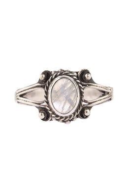 Moonstone Open Shank Swirl Silver Ring