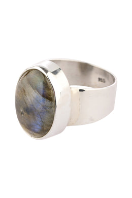 Simple Statement Labradorite Silver Ring