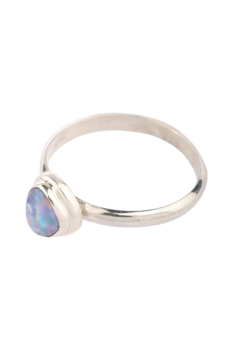 Opal Fine Band Silver Ring