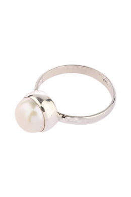 Simple Freshwater Pearl Silver Ring
