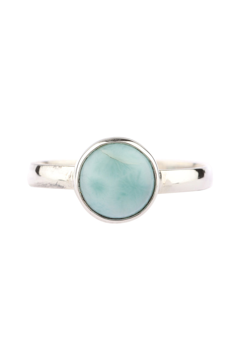 Simple Fine Larimar Silver Ring
