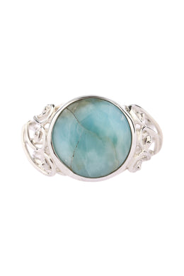 Larimar Silver Filigree Ring