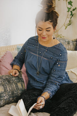Steel Blue Embroidered Blouse