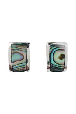 Abalone Shell Curved Stud Silver Earrings