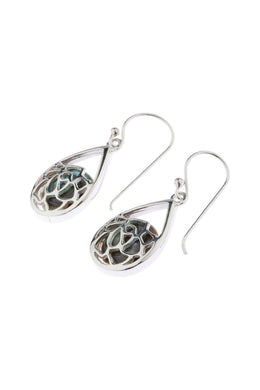 Abalone Lotus Teardrop Silver Earrings