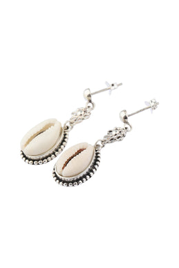 Tribal Cowrie Drop Stud Silver Earrings