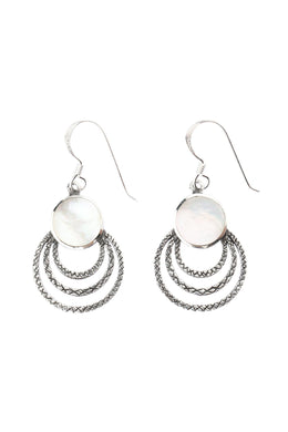 Mother of Pearl Looped Silver Earrings