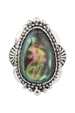 Tribal Burst Abalone Silver Ring