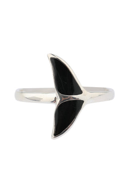 Whale Tail Epoxy Silver Ring