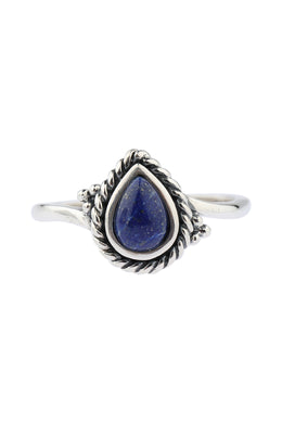 Roped Teardrop Lapis Silver Ring