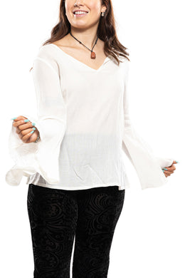 Cream Lacey Bell Sleeve Yoke Top