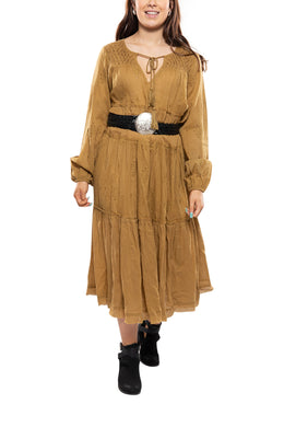 Camel Embroidery Tiered Dress