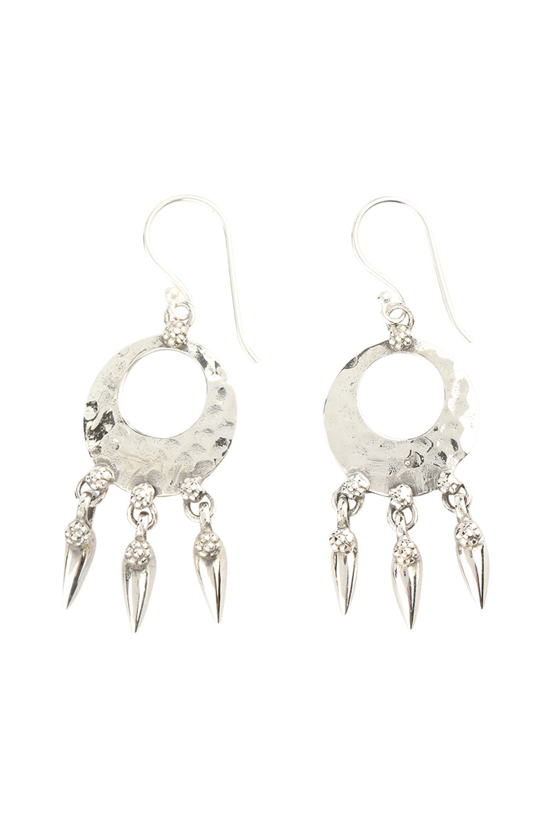 Pebbled Disc Silver Droplet Earrings