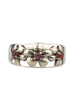 Open Flower Garnet Silver Ring