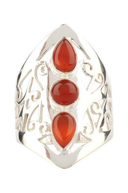 Three Stone Jali Silver Ring