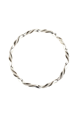 Wide Twist Oxidised Silver Bangle Bracelet