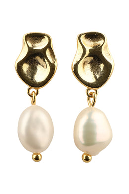 Dainty Freshwater Pearl Gold Plated Silver Earrings