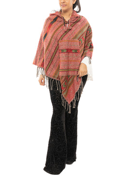 Multicolour Hooded Woven Poncho