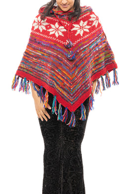 Multicolour Hooded Knit Poncho