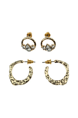 Pebbled Stud & Hoop Earring Set