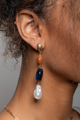 Natural Bead & Pearl Drop Stud Earrings