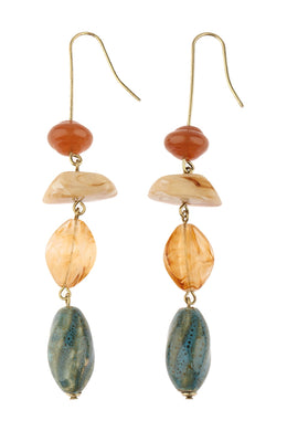 Pebbled Bead Drop Hook Earrings