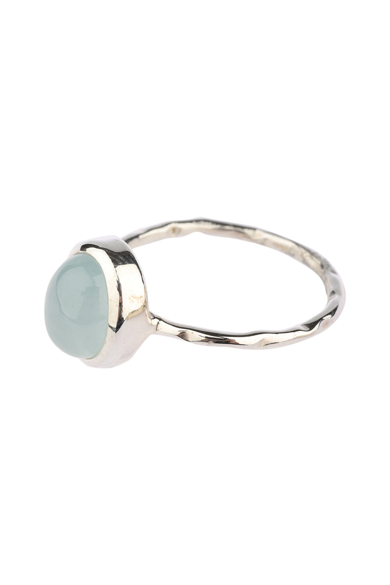 Simple Oval Gemstone Silver Ring