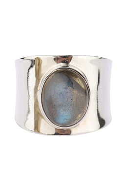 Smooth Wide Band Labradorite Silver Ring