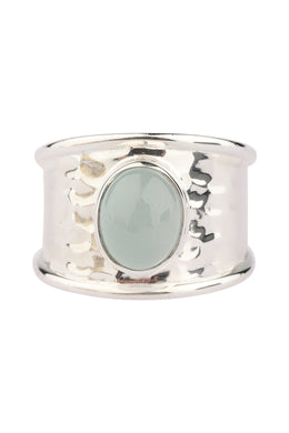 Aquamarine Pebbled Silver Ring