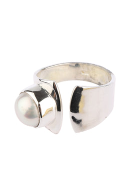 Smooth Freshwater Pearl Open Silver Ring
