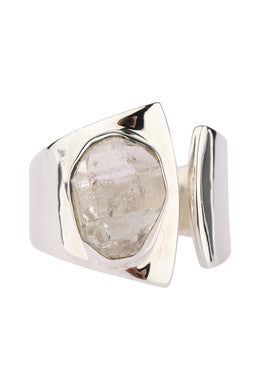 Premium Herkimer Open Silver Ring