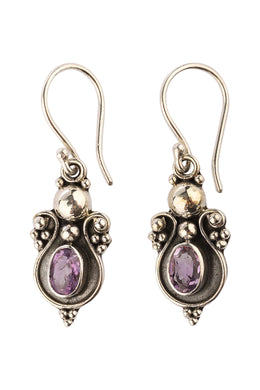 Balinese Oval Amethyst Silver Earrings