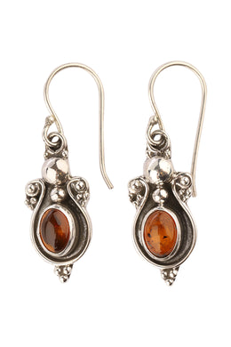 Balinese Oval Amber Silver Earrings