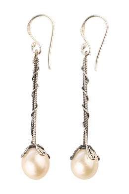 Freshwater Pearl Pillar Silver Earrings
