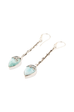 Teardrop Larimar Pillar Silver Earrings