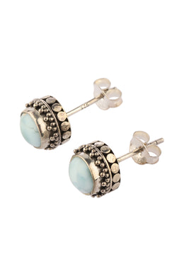 Larimar Stud Tribal Casing Silver Earrings