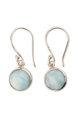 Mini Round Larimar Droplet Silver Earrings