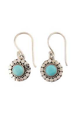 Turquoise Droplet Pressed Detail Silver Earrings