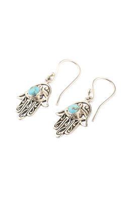 Turquoise Hamsa Silver Earrings