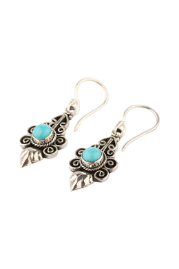 Tribal Points Turquoise Silver Earrings