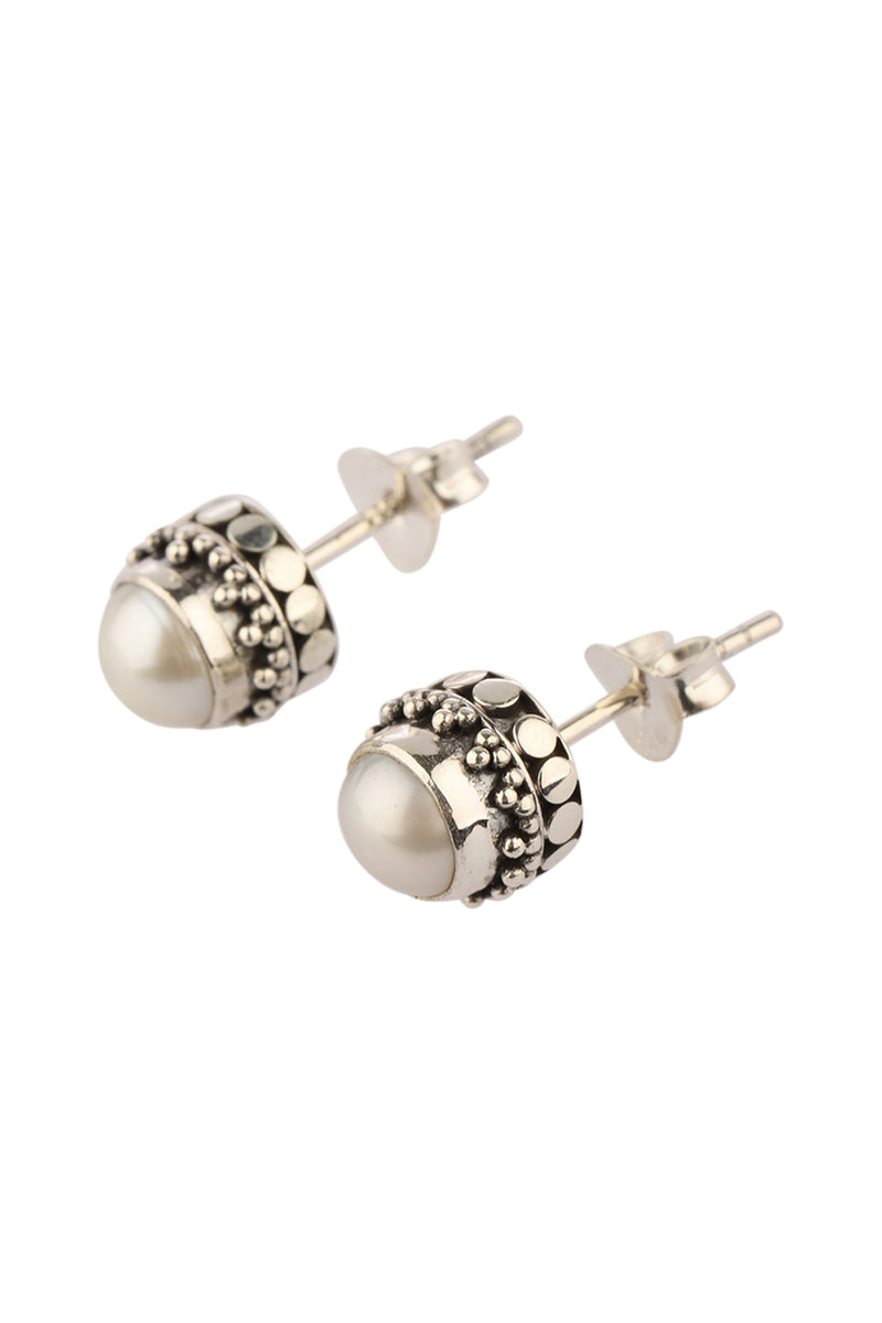 Freshwater Pearl Stud Tribal Casing Silver Earrings