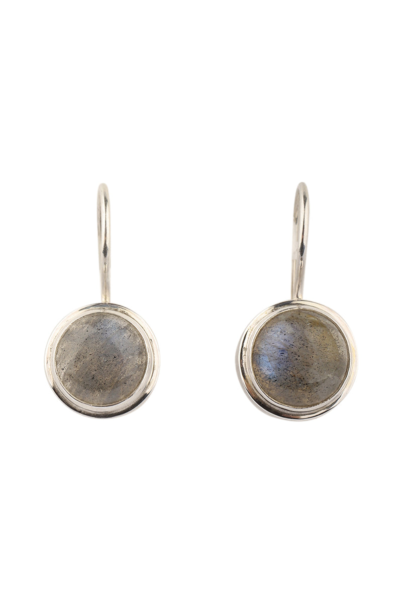 Round Labradorite Silver Hook Earrings