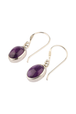 Simple Amethyst Droplet Silver Earrings