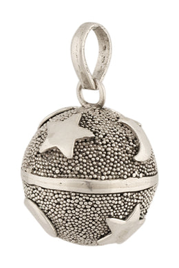 16mm Moon & Stars Silver Harmony Ball Pendant