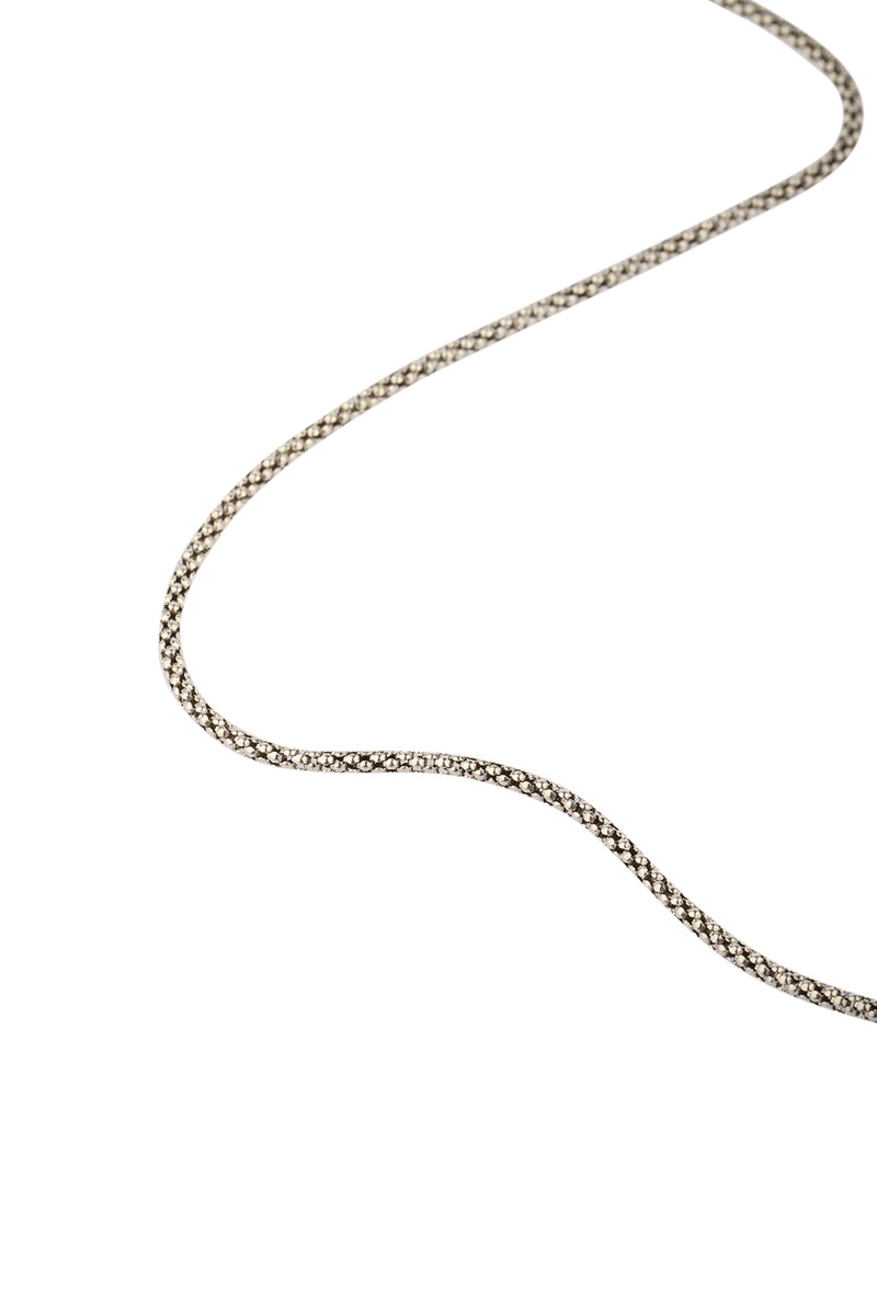Oxidised Silver Popcorn Chain Necklace - 22""