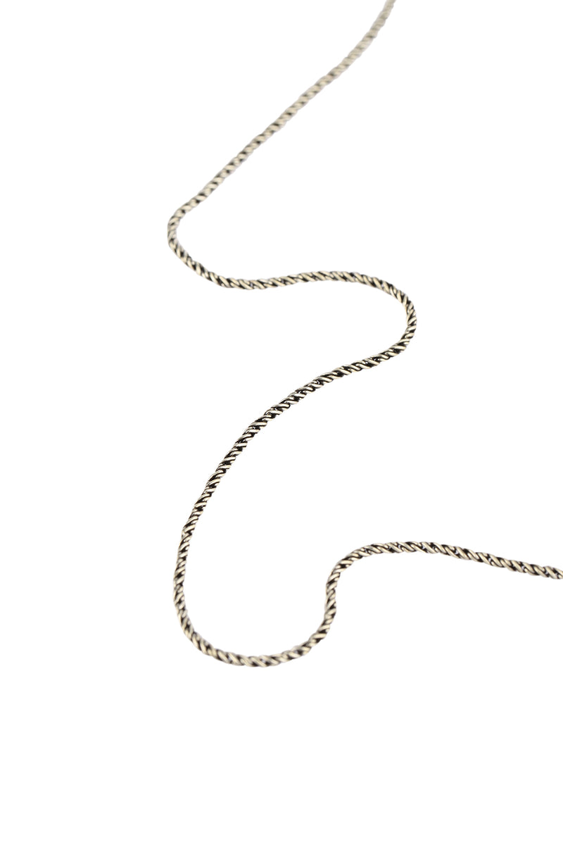 Oxidised Silver Twist Snake Chain Necklace - 18""