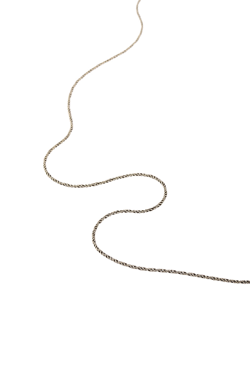 Oxidised Silver Twist Snake Chain Necklace - 24""