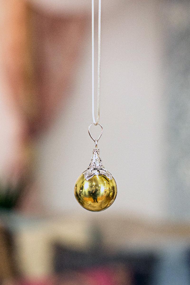 Brass Harmony Ball Pendant with Silver Filigree Cap