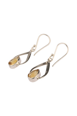 Wrapped Citrine Teardrop Silver Earrings
