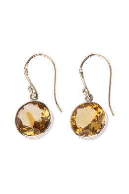 Round Citrine Droplet Silver Earrings